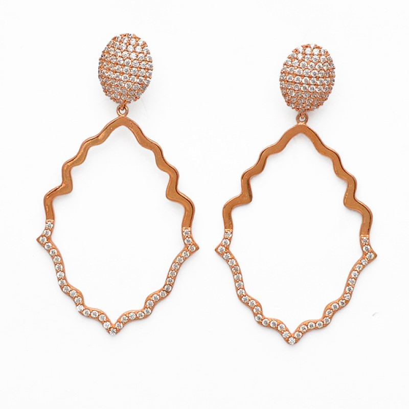 925 Sterling Silver Pave CZ Gemstone Rose Gold Plated Handcrafted Designer Earrings