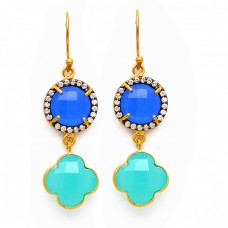 925 Sterling Silver Pave Cz Chalcedony Gemstone Gold Plated Dangle Earrings