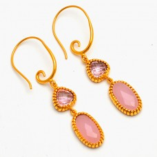 Triangle Oval Shape Gemstone 925 Sterling Silver Gold Plated Dangle Hoop Earrings