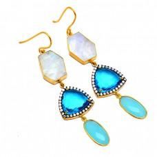 925 Sterling Silver Multi Color Gemstone Gold Plated Handmade Designer Earrings