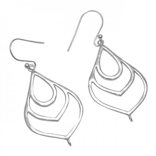 Handmade Plain Designer 925 Sterling Silver Dangle Earrings