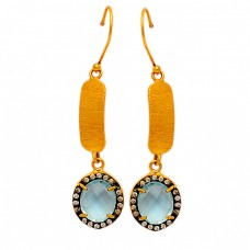Pave Cz Blue Topaz Gemstone 925 Sterling Silver Gold Plated Handmade Dangle Earrings