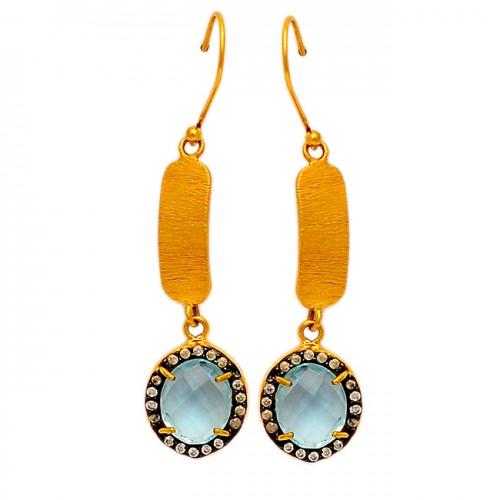 Pave Cz Blue Topaz Gemstone 925 Sterling Silver Gold Plated Handmade Dangle Earrings