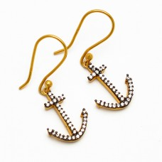 Pave Cubic Zirconia Gemstone 925 Sterling Silver Gold Plated Arrow Shape Designer Earrings