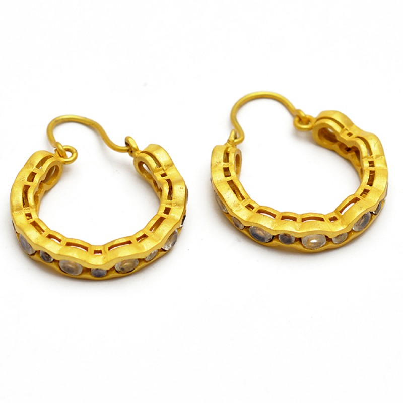 Round Shape Cubic Zirconia Gemstone 925 Sterling Silver Gold Plated Hoop Earrings