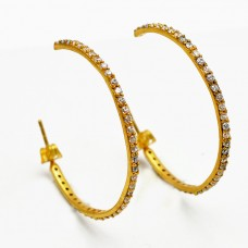 Fashionable Pave CZ Round Shape Gemstone Gold Plated Designer Hoop Earrings