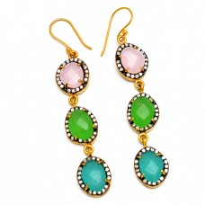925 Sterling Silver Pave Cz Chalcedony Gemstone Gold Plated Handmade Designer Earrings
