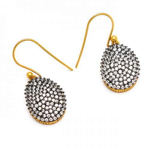 925 Sterling Silver Pave Cz Handcrafted Designer Gold Plated Dangle Earrings