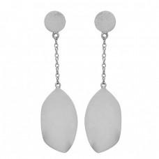 925 Sterling Silver Hanging Chain Dangle Gold Plated Handmade Plain Earrings