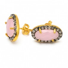 925 Sterling Silver Pink Chalcedony Pave Cz Gemstone Gold Plated Stud Earrings