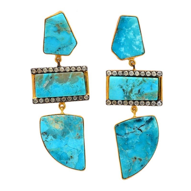 Turquoise Cubic Zirconia Gemstone 925 Sterling Silver Gold Plated Dangle Stud Earrings