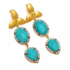 925 Sterling Silver Turquoise Pave Cz Gemstone Gold Plated Designer Stud Earrings