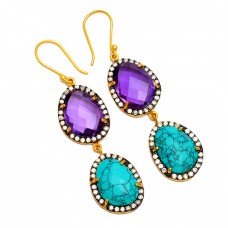 Amethyst Turquoise Pave Cz Gemstone 925 Sterling Silver Gold Plated Dangle Earrings