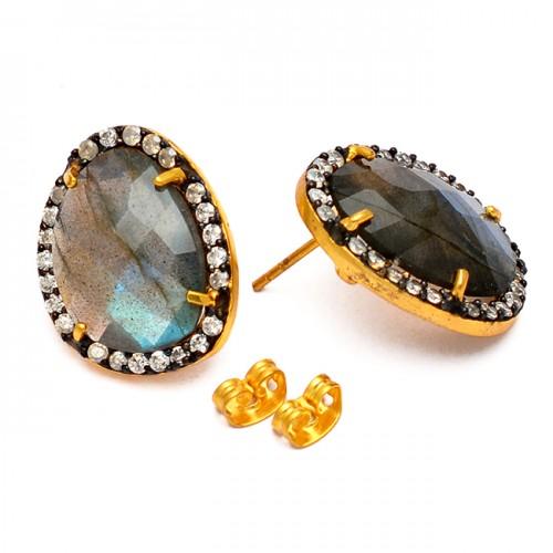 Pave Cz Labradorite Gemstone 925 Sterling Silver Gold Plated Handmade Stud Earrings