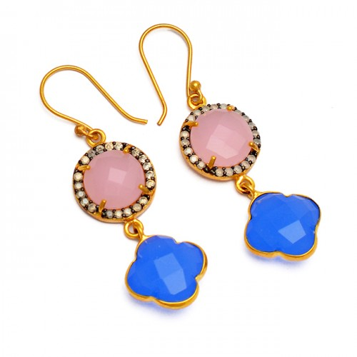 Rose Blue Color Chalcedony Pave Cz Gemstone 925 Sterling Silver Gold Plated Earrings