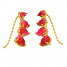 Faceted Pear Shape Ruby Gemstone 925 Sterling Silver Gold Plated Designer Earrings