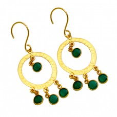 Hammered Bezel Setting Round Green Onyx Gemstone Gold Plated Dangle Earrings