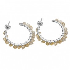 925 Silver Rainbow Moonstone uncut Shape Gemstone Gold Plated Hoop Earrings