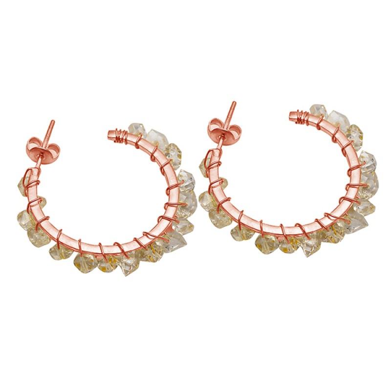 925 Silver Rainbow Moonstone uncut Shape Gemstone Gold Plated Hoop Earrings