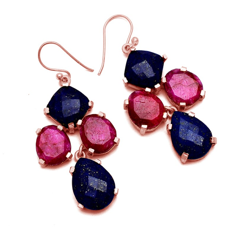 Lapis Lazuli Ruby Gemstone Prong Setting 925 Sterling Silver Gold Plated Dangle Earrings