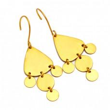 925 Sterling Silver Handmade Designer Gold Plated Dangle Earrings