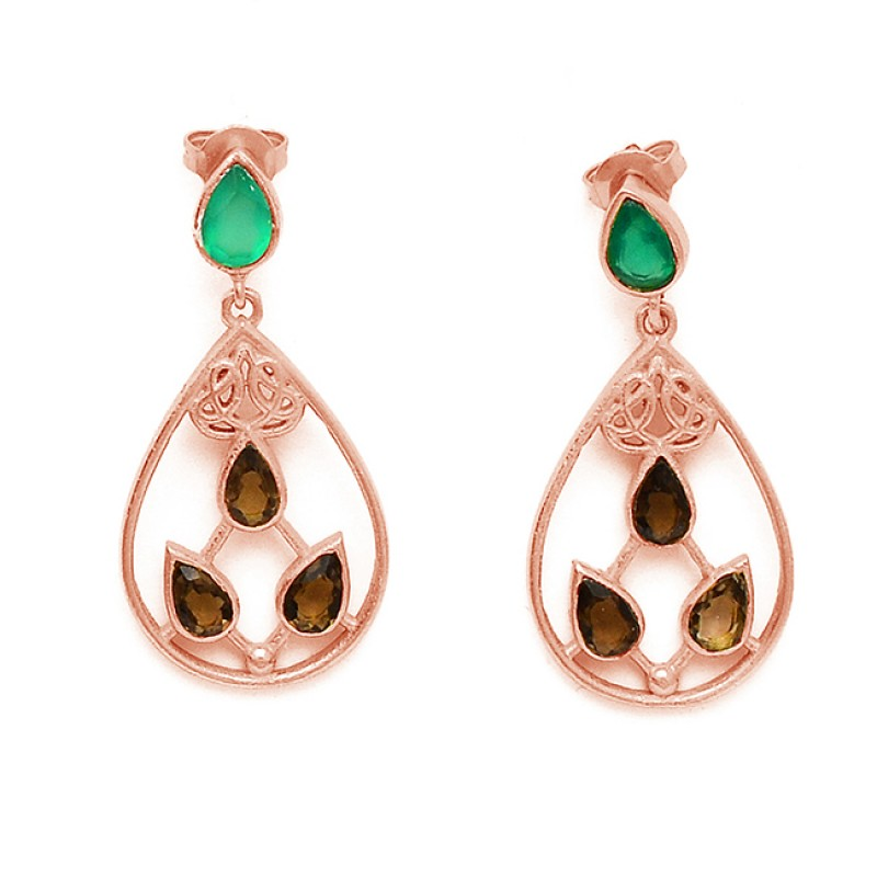 Green Onyx Smoky Quartz Gemstone Handcrafted Designer Gold Plated Stud Dangle Earrings