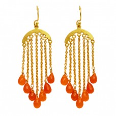 Handcrafted Designer Carnelian Pear Drops Shape Gemstone Gold Plated Dangle Earrings