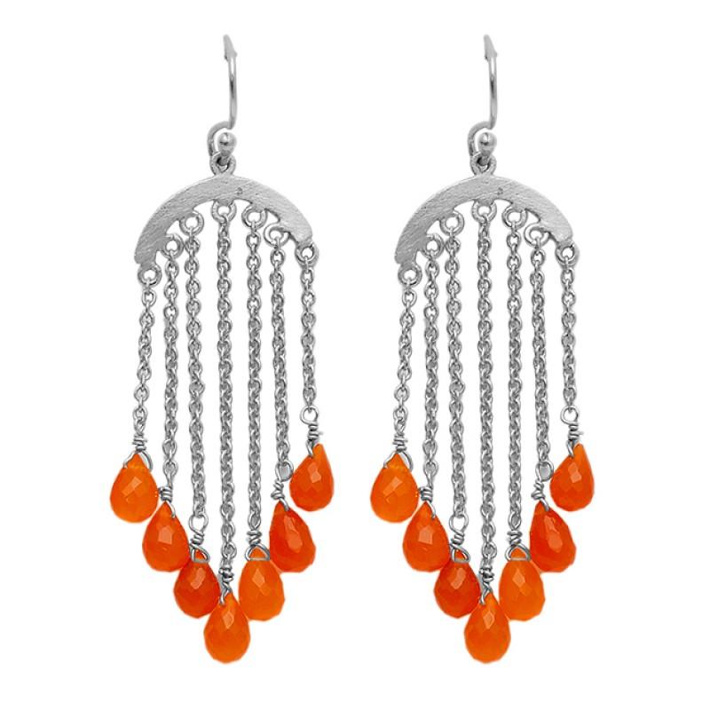 Handcrafted Designer Carnelian Pear Drops Shape Gemstone Gold Plated Dangle Earrings