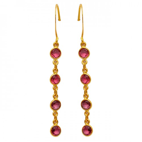 Pink Quatz Round Shape Gemstone 925 Sterling Silver Gold Plated Bezel Setting Earrings