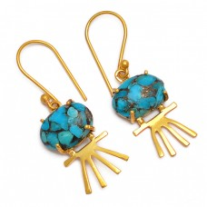 Cabochon Blue Copper Turquoise Gemstone Handmade Gold Plated Earrings