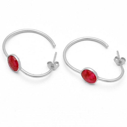 Faceted Oval Shape Ruby Gemstone 925 Sterling Silver Gold Plated Hoop Earrings