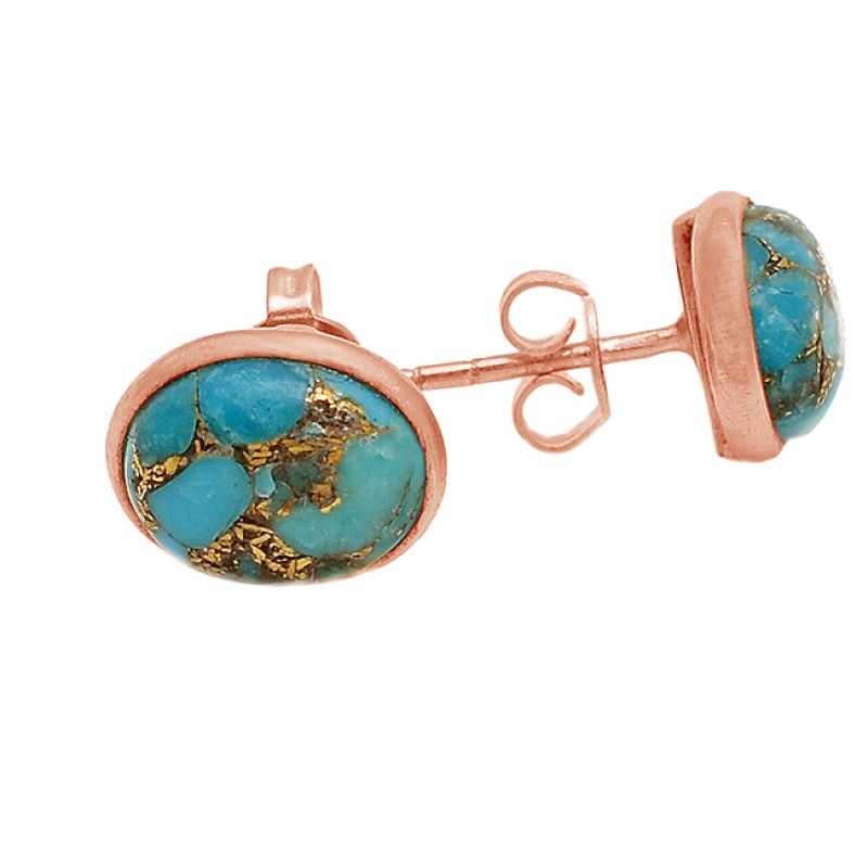 Blue Copper Turquoise Gemstone 925 Sterling Silver Gold Plated Designer Stud Earrings