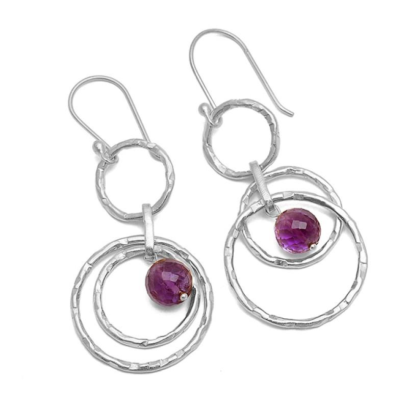 Purple Amethyst Round Balls Shape Gemstone Gold Plated Dangle Earrings