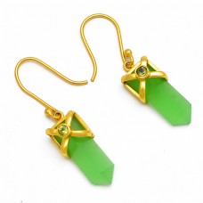 Pencil Shape Chalcedony Peridot Round Gemstone Gold Plated Dangle Earrings