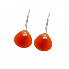 Carnelian Heart Shape Gemstone 925 Sterling Silver Gold Plated Fixe Ear Wire Earrings