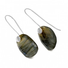 Labradorite Fancy Shape Gemstone 925 Sterling Silver Gold Plated Earrings