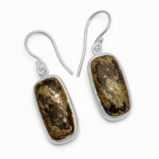 Rectangle Shape Apache Gold Gemstone 925 Sterling Silver Gold Plated Dangle Earrings