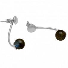 Round Balls Shape Labradorite Gemstone 925 Sterling Silver Gold Plated Stud Earrings