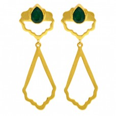Emerald Pear Shape Gemstone Handcrafted Designer Gold Plated Dangle Earrings