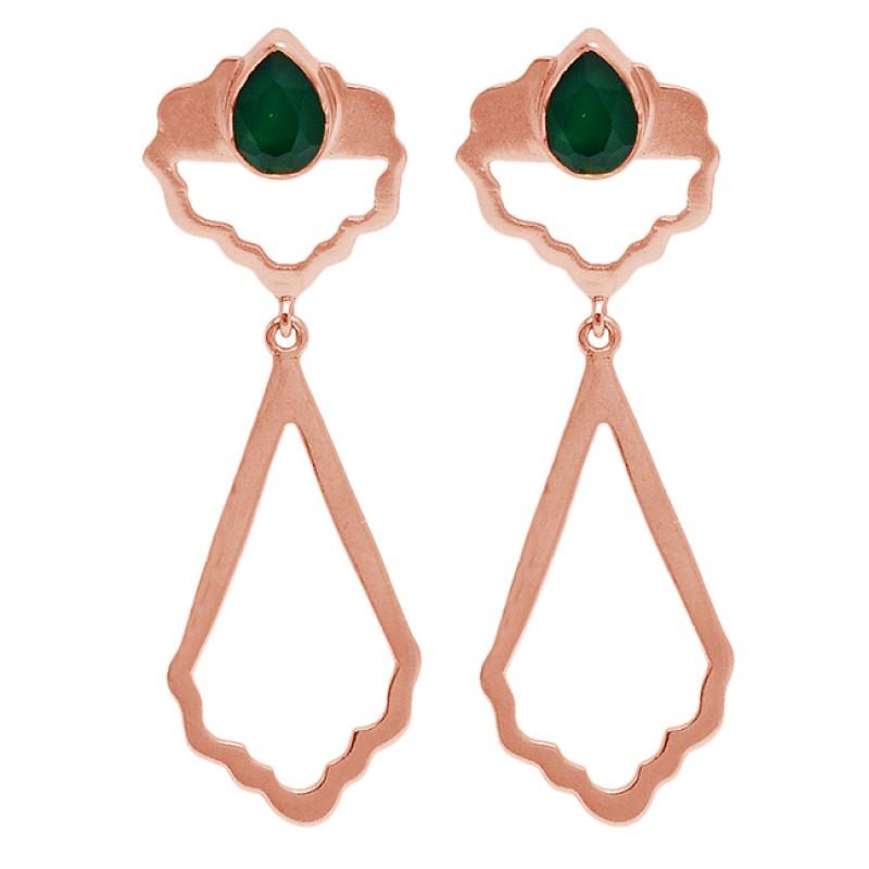 Emerald Pear Shape Gemstone Handcrafted Designer Gold Plated Dangle Earrings