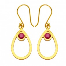Round Shape Ruby Gemstone 925 Sterling Silver Gold Plated Dangle Earrings