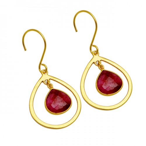 Briolette Heart Shape Ruby Gemstone Gold Plated Handmade Designer Earrings