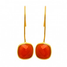Cushion Shape Carnelian Gemstone 925 Sterling Silver Gold Plated Handmade Earrings