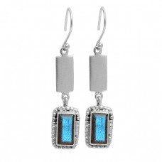 Rectangle Shape Labradorite Gemstone 925 Sterling Silver Gold Plated Dangle Earrings