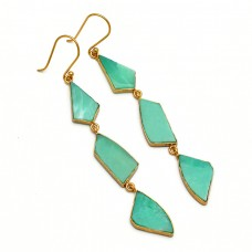 Natural Chrysoprase Fancy Shape Gemstone Bezel Setting Gold Plated Dangle Earrings