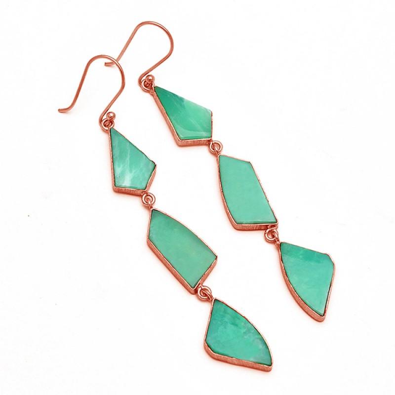 Natural Chrysoprase Fancy Shape Gemstone Bezel Setting Gold Plated Dangle Earrings