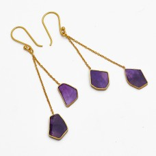Amethyst Fancy Shape Gemstone 925 Silver Gold Plated Chain Dangle Earrings