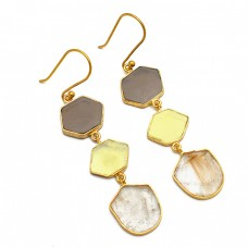 Fancy Slice Shape Gemstone 925 Sterling Silver Gold Plated Dangle Earrings