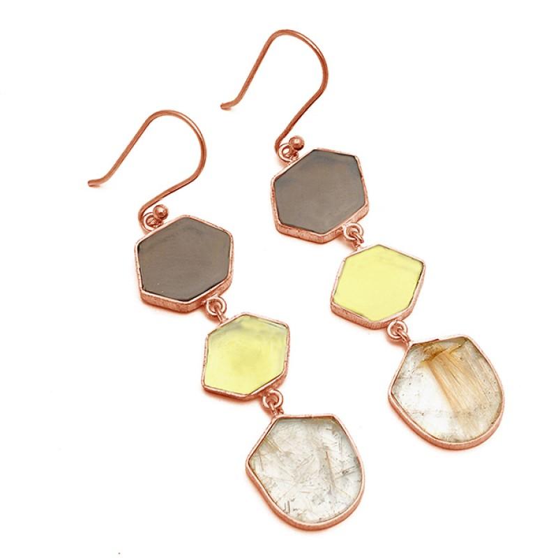 Fancy Slice Shape Gemstone 925 Sterling Silver Gold Plated Dangle Earrings