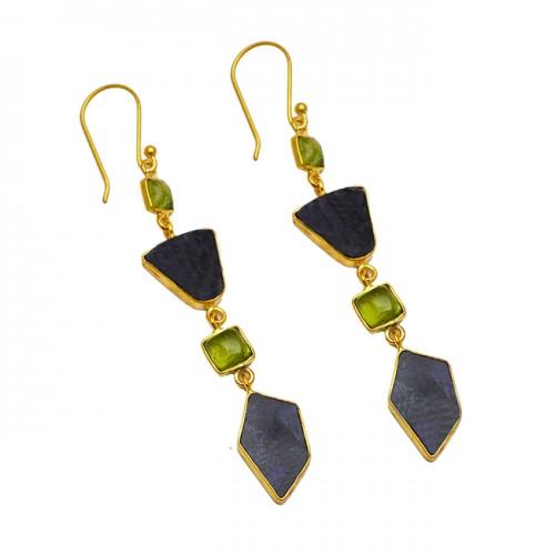 Peridot Labradorite Gemstone 925 Sterling Silver Gold Plated Dangle Earrings